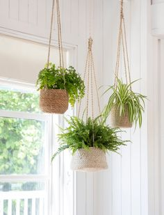 The mixture of natural tones look striking when clustered together in the corner of a kitchen, orangery or summerhouse. Each pot has a weight limit of 5kg and comes with jute strings to hang in the desired location. The range are particularly suited for use with ferns and trailing plants for a natural wild appearance.