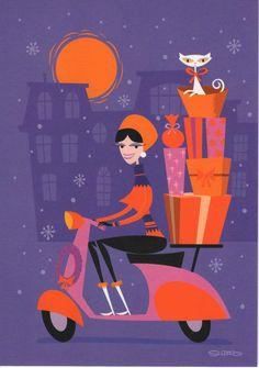 "SHAG josh agle ""Scooter Girl"" Greeting Card RARE Old Store Stock VESPA Listing in the Holiday & Seasonal,Collectibles Category on eBid United States Retro Kunst, Retro Art, Retro Vintage, Retro Christmas, Christmas Greetings, Vintage Holiday, Scooter Girl, Vespa Girl, Tiki Art"