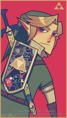 Link and his crib shield. Not super handy for cheating from, but fancy