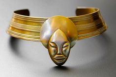 African Necklace, Brass Cuff Necklace, Choker Necklace, Afro Lady Brass Cuff Necklace