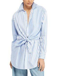 Polo Ralph Lauren Tie-Front Striped Cotton Shirt - Polo Ralph Lauren Shirts - Ralph Lauren Germany