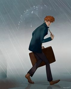 "missmeirii: ""I recommend this movie more than I recommend air. Newt Scamander "" Ooo lovely art! Looking forward to seeing the film tomorrow! ☔️"
