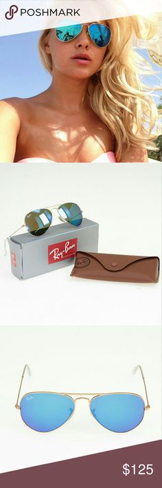 Ray-Ban Blue Flash Aviators RB3025 112/17 These brand new aviators have a gold trim with mirror blue lenses. They are 100% UV protection lenses as well! These are 100% authentic and come with original packaging, brown leather style case, paperwork, and lense duster. Size 55mm. Ray-Ban Accessories Sunglasses