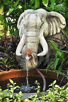 Elephant fountain for meditation pond