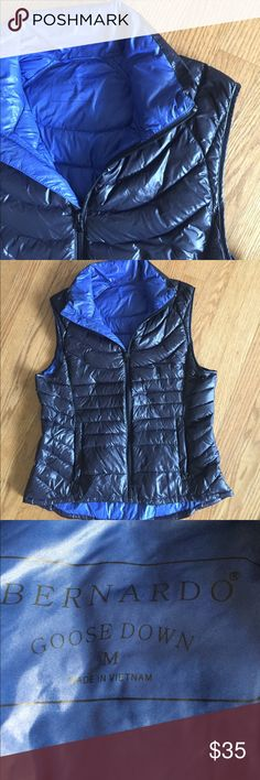 Warm Goose down vest. Lightweight and stylish down puffer vest.  Inside is blue, two side pockets, very warm and very light. Bernardo Jackets & Coats Vests