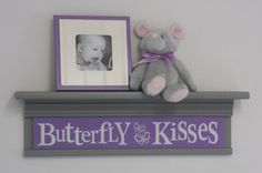 Gray and Purple Nursery  Butterfly Kisses  Sign on by NelsonsGifts, $40.00