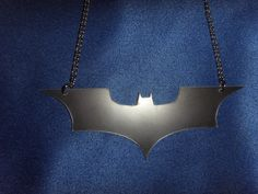 Black Dark Knight / Batman Necklace on 18 inch by LeFayEngraving, £10.00