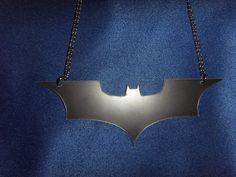Black Dark Knight / Batman Necklace on 18 inch by LeFayEngraving, £10.00