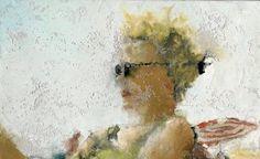 Philippe Cognée construit, puis déconstruit ses toiles, toujours inspirées de photographies, comme celle-ci (à dr.), intitulée «Albufeira, Sandrine» (1995).