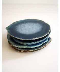 Set of 4 Agate Coasters, Azure Blue