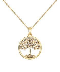 Goldtone Tree of Life Necklace With Swarovski® Crystals. . ..  MESTIGE. . ..  $23.99 $60.00  . Product Description:  Enriched with Swarovski® crystals, this flourishing pendant necklace animates ensembles with stunning radiance.      Chain: 17'' L with 2.75'' extender  .     Pendant: 20.1 mm W x 23 mm L  .     Lobster claw clasp  .     Goldtone-plated brass / Swarovski® crystal  .     Imported