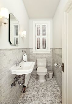 Four Brothers LLC - bathrooms - Nice & simple: wall-mount, white, porcelain, sink, clipped corners, mirror, marble, subway tiles, basket weave floor