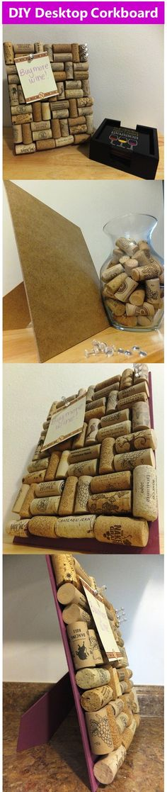 Wine Cork DIY - Learn how to make a desktop wine cork corkboard! #DIY