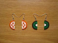 Pendientes fruta naranja y kiwi hama beads by Ursula