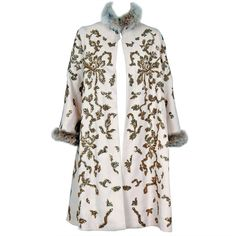 Pre-owned 1990's Oscar de la Renta Bouillon and Sequin Embroidered... ($1,800) ❤ liked on Polyvore featuring outerwear, coats, coats and outerwear, swing coats, oscar de la renta, white coat, white swing coat, sequin coat and trapeze coat