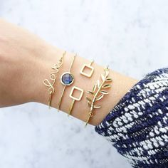 Iris Gold/Blue Night Jonc Bracelet - Majolie - 1