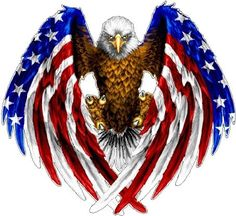 I love the idea of the eagle with the American flag as wings, but maybe only one wing and a profile view.