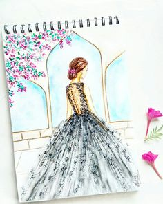 New fashion illustration watercolor gowns paintings ideas Fashion Design Books, Fashion Design Sketchbook, Fashion Design Drawings, Fashion Wall Art, Fashion Sketches, Fashion Drawing Dresses, Fashion Illustration Dresses, Fashion Illustration Tutorial, Dress Drawing