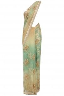 Aqua and Gold Crystal Embroidered Saree with Gold Glitter Blouse #sabyasachi #shopnow #ppus #happyshopping
