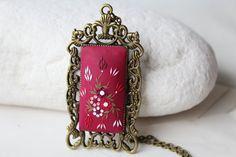 Burgundy necklace Red Art Deco Jewelry by LandOfJewellery on Etsy