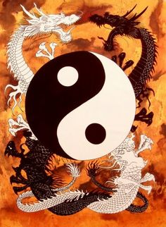 black & white fighting dragons around yin yang Arte Yin Yang, Yin Yang Art, Tao Te Ching, Chinese Dragon, Qigong, Dragon Art, Tai Chi, Dragons, Feng Shui