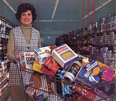 1974 Grocery Cart. Notice the size of the containers compared to today's.