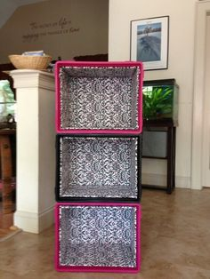I like this idea. I want to use Milk crates as a creative way to store our shoes. The milk crates I made into shelves for my dorm