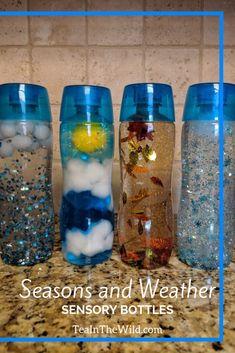 Seasons and Weather Sensory Bottles Spring Rain, Summer Sun, Autumn Wind, and Winter Snow. Sensory Bottles Preschool, Glitter Sensory Bottles, Sensory Table, Preschool Science, Sensory Bins, Sensory Activities, Sensory Play, Classroom Activities, Toddler Activities