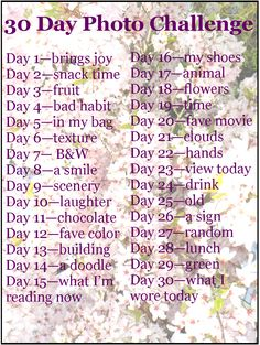 """30 Days Photo Challenge"".    Hey, a challenge that is not about ""Abs"", ""Butt"", ""Thigh Gap""!"