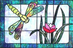 PT1993  Dragonfly Pond Stained Glass Quilt Pattern by Bear Paw Productions