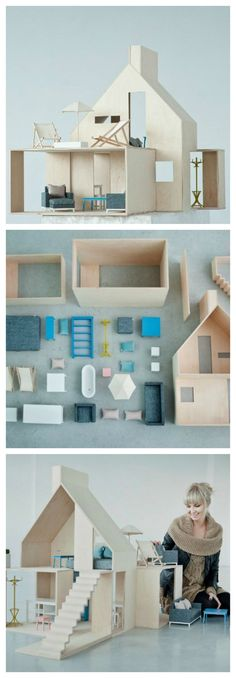 Modern doll's house - Petit & Small Emily's Notes:This Chimney Modern Dollhouse, Diy Dollhouse, Victorian Dollhouse, Cardboard Dollhouse, Cardboard Toys, Miniature Houses, Miniature Dolls, Doll Furniture, Dollhouse Furniture