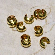 Купить обжимная бусина, 4 мм, цинковый сплав, цвет золото, 10 шт - фурнитура