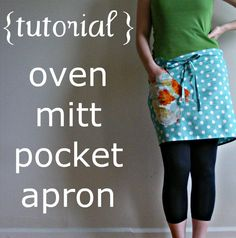 I could totally add an oven mitt shaped pocket to the aprons I make, too cute!