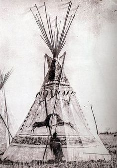 The tipi of Glad Road, Cheyenne, c1870 Church of Jesus Christ of Latter-day Saints, neg P1300/797 Buffalo hide tipi with female and male horse at the back. Note streamers of probably red dyed leather...
