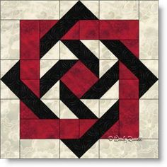 """""""Slip Knot"""" quilt block featuring squares, rectangles, half square triangles and flying geese patches. Slip Knot quilt block featuring squares, rectangles, half square triangles and flying geese patches. Barn Quilt Designs, Barn Quilt Patterns, Pattern Blocks, Quilting Designs, Quilting Patterns, Sewing Patterns, Free Quilt Block Patterns, Sewing Stitches, Quilting Ideas"""