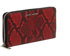 NWT MARC JACOBS Snake-Embossed Women's Continental Zip Wallet in Red/Black