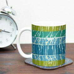 "Nina May ""Ocean Splatter"" Blue Teal Ceramic Coffee Mug"