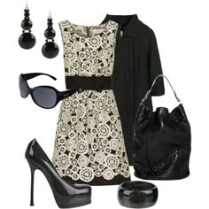 This B&W; fashion is so cute! I would not wear the heels however. I'd end up on the floor. :0)
