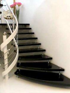 Freitragende Treppe Star Galaxy - schwarzer Granit mit weißen ...