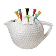 ENESCO ARTIST GALLERY TEAPOTS *GOLF TEE-POT* Designed by Karen Hahn Height: Approx 18.5cm RRP: £25!