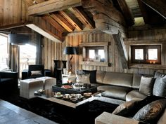 Stylish Homes - Chalet Brickell great room, Megeve, southeast. Bed Design, House Design, Chalet Style, Ski Chalet, Bedroom Nook, Hotel Interiors, House In The Woods, Decoration, Great Rooms