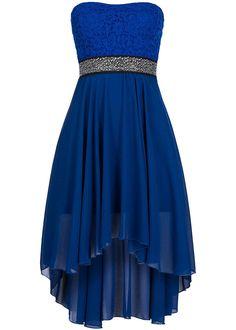 Seventyseven Lifestyle Damen Bandeau Kleid Brustpads Stasssteine royal blau - 77onlineshop