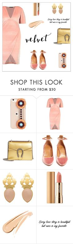 """Crushing on Velvet"" by alinepinkskirt ❤ liked on Polyvore featuring Fendi, Boohoo, Gucci, Aquazzura and Axiology"
