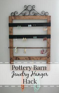 DIY Wall Mount Jewelry Organizer {Pottery Barn Knock Off)