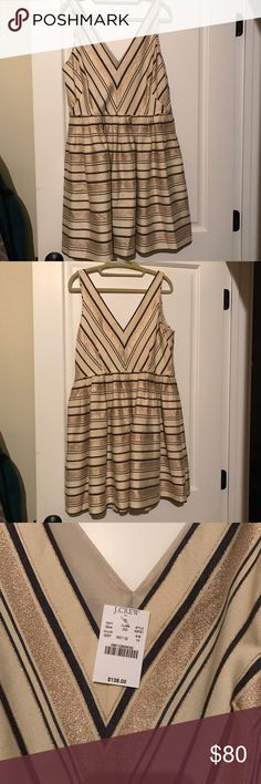 J.Crew Striped Dress Never worn- material is thick and the gold has a shimmer to it. J. Crew Dresses Mini