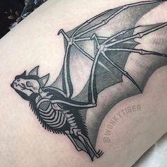 Another fun X-ray bat thanks Caitlin! by wonkytiger Fire Tattoo, B Tattoo, Piercing Tattoo, Piercings, Spooky Tattoos, Skeleton Tattoos, Bat Skeleton, Traditional Tattoo Bat, Future Tattoos