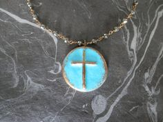 Turquoise Verdigris Patina Cross Necklace on by ransomjewelry, $48.00