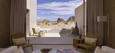 Amangiri (peaceful mountain) is located on 600 acres in Canyon Point, Southern Utah, close to the border with Arizona. The resort is tucked into a protected valley with sweeping views towards the Grand Staircase – Escalante National Monument.  #JetsetterCurator