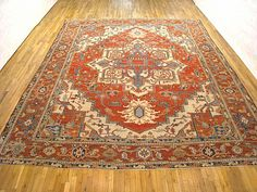 "Persian: Geometric 14' 5"" x 11' 9"" Antique Serapi at Persian Gallery New York - Antique Decorative Carpets & Period Tapestries"