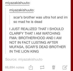 """Fullmetal Alchemist: Brotherhood"" - I actually did think that they meant Scar from ""The Lion King"". Fullmetal Alchemist Mustang, Fullmetal Alchemist Alphonse, Fullmetal Alchemist Brotherhood, My Tumblr, Tumblr Posts, Tumblr Funny, Funny Memes, Bad Memes, Funny Cute"